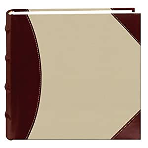 Pioneer High Capacity Sewn Fabric and Leatherette Cover Photo Album, Brown on Beige