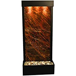 Harmony River Water Feature with Antique Bronze Trim, Flush Mounted in Base (Rainforest Brown Marble)