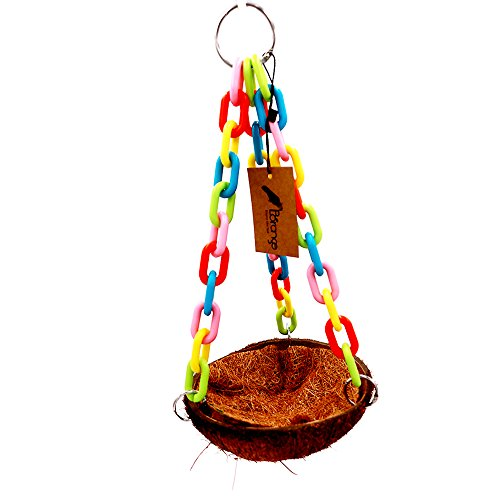 Borange Parrot Cages Bird Swing Chewing Toys Natural Colorful Coconut Shell Bite Perch for Small Birds and Pet Conure Cockatiel Cockatoo Cage ()