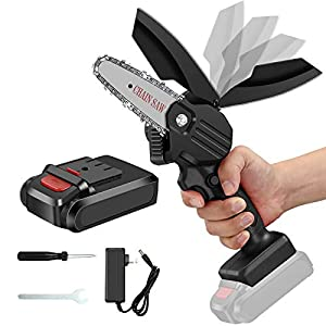 Chainsaw, Elikliv 4-Inch Cordless Chain Saws with Rechargeable Battery, 24V Electric Mini Pruning Shears, Handheld…