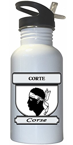 Corte, Corse (Corsica) City White Stainless Steel Water Bottle Straw Top