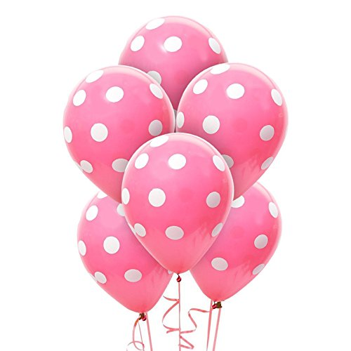 Hot Rose and White Dots Latex Balloons (6) - Party Supplies