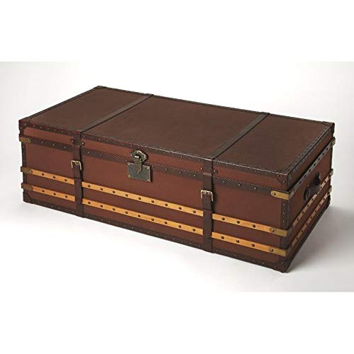 own Rectangular Handstained Brown Leather, Canvas, MDF, Beech wood solids, MDF, Antique Brass finished hardware BUTLER BRINSON BROWN LEATHER STORAGE TRUNK ()