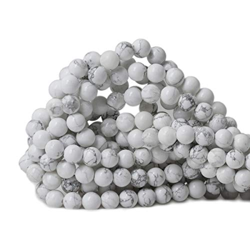 CHEAVIAN 8mm 45PCS Natural White Howlite Gemstone Round Loose stone Beads for Jewelry Making DIY Crafts Design 1 Strand 15
