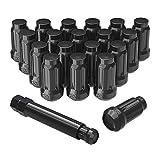 LEDKINGDOMUS Lug Nuts 1/2 x 20 Black, Wheel Lug Nuts Bulge Acorn Spline 1.38'' Tall with 1 Lug Nut Key, 20+1Pcs