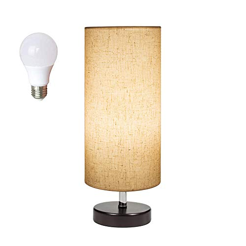 DEEPLITE Coffee Table Lamp, Wood Base Small Bedside Lamp with 7W LED Bulb Included ()