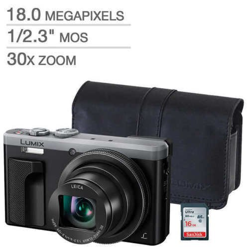 Panasonic LUMIX DMC-ZS60 Digital Camera Silver BUNDLE! PANASONIC Case & 16GB SD - Zoom Panasonic Camera Super