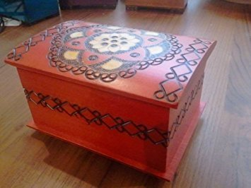 Polish Handmade Linden Wood Keepsake Chest Chakra Jewelry Box with Lock by Enchanted World of Boxes