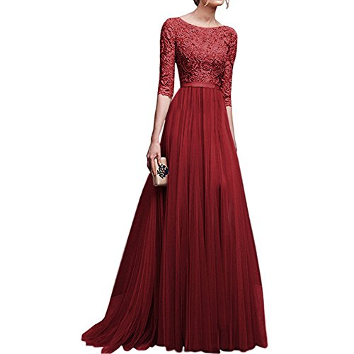 (Women's Vintage Floral Lace 3/4 Sleeves Floor Length Retro Evening Cocktail Formal Bridesmaid Gown Long Maxi Dress Burgundy)