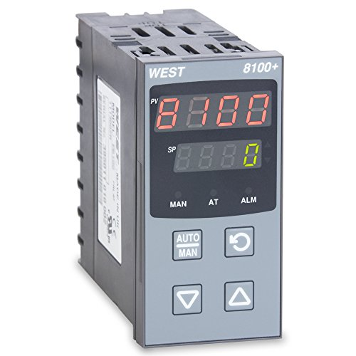 West P8101Z21000000 8100+ Series 1/8 DIN Temperature Controller, 100 to 240 VAC, One Relay Output, Red Upper/Red Lower Display ()