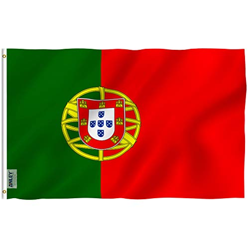 Anley Fly Breeze 3x5 Foot Portugal Flag - Vivid Color and UV Fade Resistant - Canvas Header and Double Stitched - Portuguese National Flags Polyester with Brass Grommets 3 X 5 Ft ()
