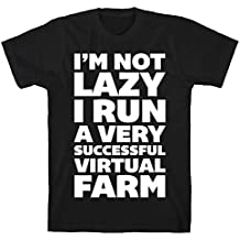 LookHUMAN I'm Not Lazy I Run A Very Successful Virtual Farm Black Men's Cotton Tee
