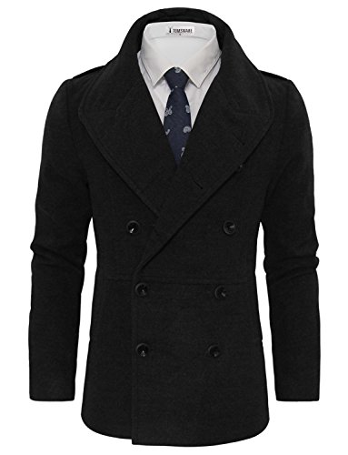 Tom's Ware Men's Stylish Wool Blend Double Breasted Pea Coat TWCC10-C16-BLACK-US S