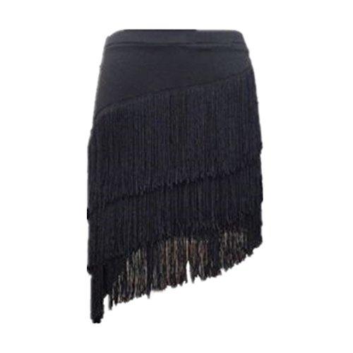 YOUMU Women Latin Skirt Tango Rumba Dancewear Ballroom Fringe Tassels with Shorts Inside (S/Waist: 66 cm/26