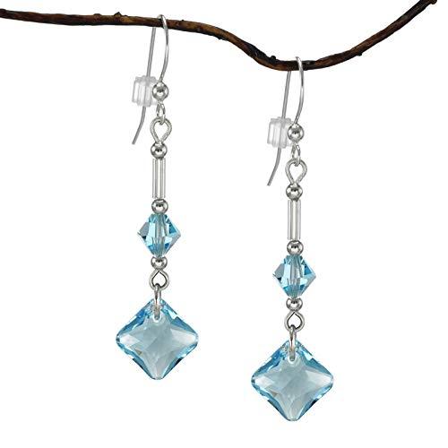 Swarovski Crystal Princess Cut Aquamarine Drop with Bicone Earrings