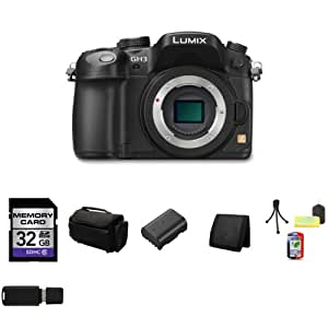 Panasonic Lumix DMC-GH3 Mirrorless Digital Camera Body Only (Black) + 32GB SDHC Class 10 Memory Card + Deluxe Memory Wallet + Table Top Tripod, Lens Cleaning Kit, LCD Protector + USB SDHC Reader