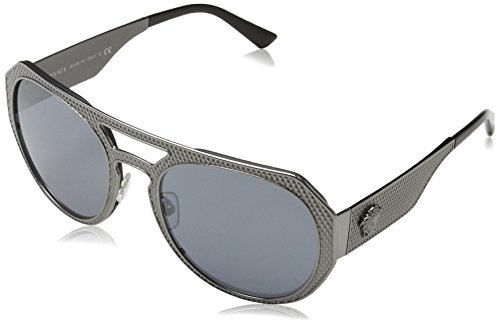 Versace Womens Metal Mesh Collection Sunglasses (VE2175) Gunmetal/Grey Metal - Non-Polarized - - Versace Shades 2017