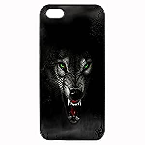 Angry Wolf Custom Image Case iphone 5 case , iphone 5S case, Diy Durable Hard Case Cover for iPhone 5 5S , High Quality Plastic Case By Argelis-sky, Black Case New