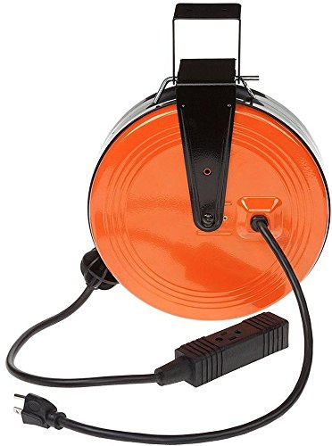 Price comparison product image RETRACTABLE ELECTRIC CORD REEL 30 Ft 3 Outlets Heavy Duty Extension Cable Garage