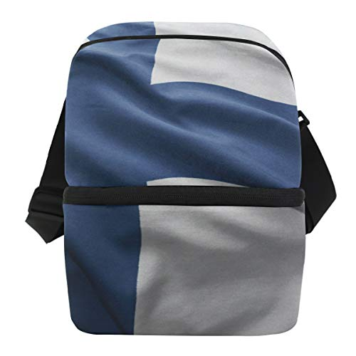 (Finland Flag Insulated Lunch Box Cooler Bag Reusable Tote Picnic Bags for Travel, Camping, Hiking and)