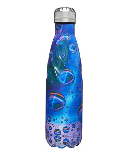 Twist Vacuum Insulated Bottle Stainless Steel BUBBLES Navy Blue Purple 16oz
