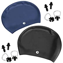 RoryTory Various Color Adult Long Hair Swim Cap With Nose Clip and Ear Plug Set