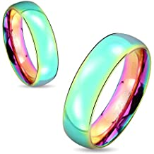 STR-0416 Stainless Steel Dome Rainbow Ring; Sold as 1 Piece
