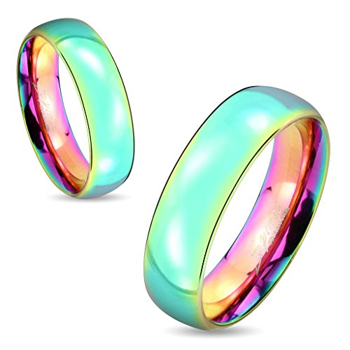 Jinique STR-0416 Stainless Steel Dome Rainbow Ring; Sold as 1 Piece by Jinique