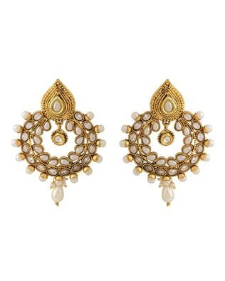 Colors Voylla Navrang Traditional Dangled Earrings With Shiny Stones & Pearl Beads