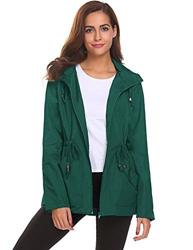 Women's Waterproof Lightweight Rain Jacket with Hood Windbreaker Raincoat Active