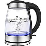Electric Kettle, CUSINAID Glass Tea Pot Electric Water Boiler 1.7L Coffee Tea Kettle with BPA Free I LED Light I Auto Shut-Off I Boil-Dry