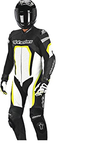 Alpinestars Motegi 1 Piece Leather Motorcycle Race Suit - Black & White - 48 (50 Black White & Fluro) B00PIA8T7I