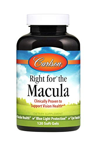 Carlson Right for the Macula, 1,000 mg DHA + 20 mg Lutein + 4 mg Zeaxanthin, with Lutemax 2020, 120 Soft Gels
