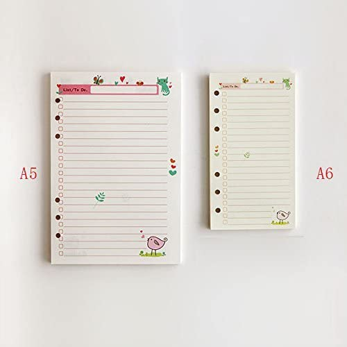 A5 A6 Daily Planner Organizer 6 Rings Binder Notebook Refills Pages for Set-Up 9