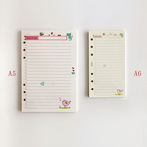 DadaCrafts(TM) A6 To-Do List Planner Organizer Refills Papers for 6-Rings Binder Notebook, 90 Sheets/180 Pages Photo #1