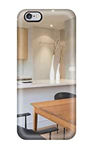 New Cute Funny Contemporary White And Gray Kitchen With A Brown Table Case Cover/ Iphone 6 Plus Case Cover(3D PC Soft Case)