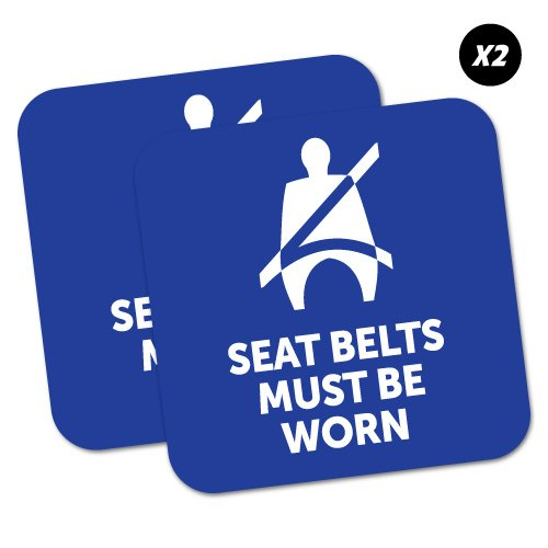 - 2 x Seat Belts Must Be Worn Blue Sticker Decal Safety Sign Car Vinyl