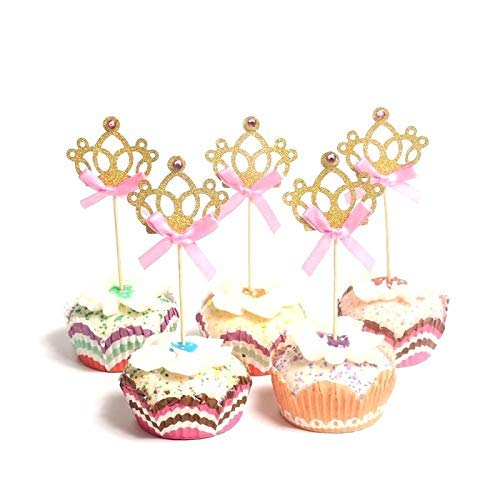 24 pcs Gold Glitter Princess Crown Tiara Cake Cupcake Toppers for Birthday Baby Shower Kids' Party,Wedding Decorations 24 pcs (GOLD)