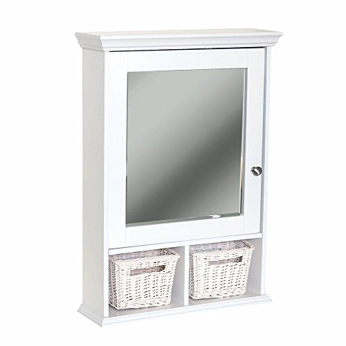 Glacier Bay 21 in. x 29 in. Wood Surface Mount Medicine Cabinet with Baskets in White with Beveled Mirror (Baskets White Wicker Medicine With Cabinet)