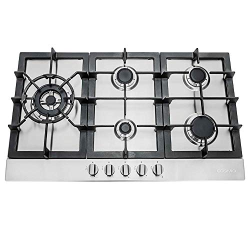 Cosmo 850SLTX-E 30' Gas Cooktop with 5 Burners, Counter-Top Cooker Cooktop with Cast Iron Grate Stove-Top, Melt-Proof Metal Knobs (Stainless Steel)