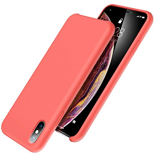 UGT iPhone Xs Max Case, Liquid Silicone Rubber Slim Shockproof Case Microfiber Cloth Lining Compatible with Apple iPhone Xs Max 6.5 inch, Coral Pink
