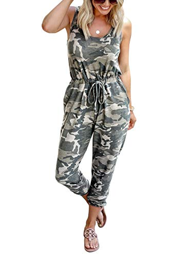 KIRUNDO Women's Summer Jumpsuits Casual Sleeveless Jumpsuit Drawstring Elasitic Waist Romper Pajama with Pockets