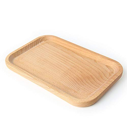 Wood Rectangular Dinner Plate Western Food Rectangular Solid Beech Wood Charger/Accent Plate and Tray Round Corners Snack Dessert Serving Tray