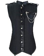 Charmian Men's Spiral Steel Boned Victorian Steampunk Gothic Retro Stripe Waistcoat Vest with Chain