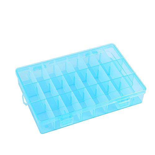24 Compartments Plastic Adjustable Jewelry BeadRings Earring Nail polish lipstick Organizer Box Storage Container Case Box Organizer Container Divider 4 Colors (1, (Polish Lipstick Color)
