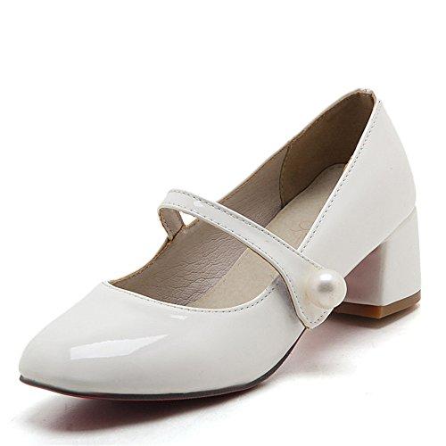 Fashion Heel Moda Puntera Cuadrada Zapatos de Tacón Grueso con Hebilla con Tamaño Grande para Mujer blanco