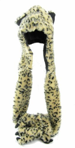 Faux Fur Fluffy Animal Hat, Long Scarf,Pocket Mittens, Pa...