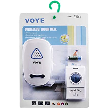 Voye Wireless Remote Control Doorbell with 38 Different Chimes ( Output needs to be Plugged, Comes With India Standard Plug)