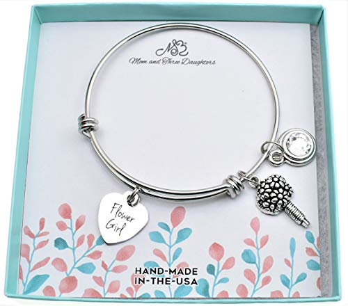 Flower Girl Bangle Bracelet in stainless steel with flower bouquet and genuine Swarovski crystal set in silver plated pewter. Flower girl