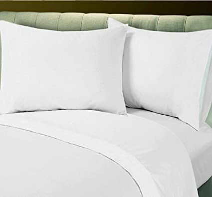 King XL Flat Sheet White Bedding 180 Thread Count Percale Hotel Linen